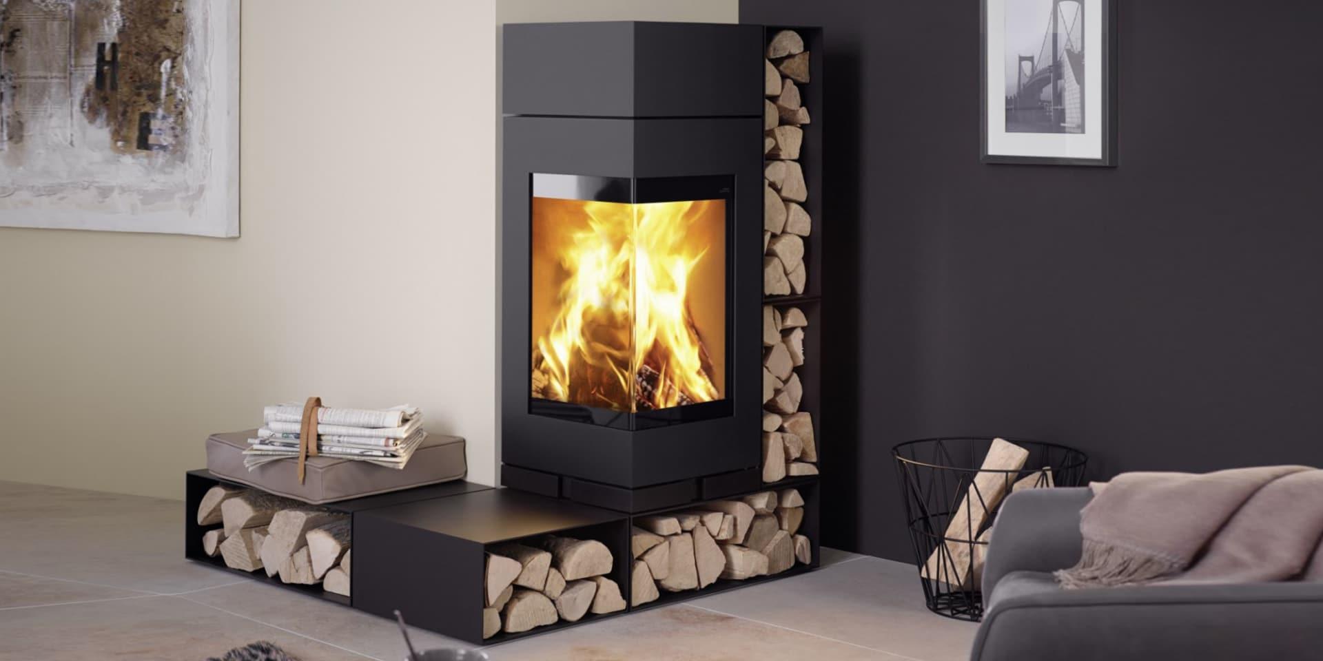 Poele A Bois De Coin poêle à bois skantherm - elements - vitre en angle - flammes